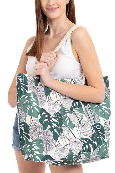 Mb0090 - Tropical Leaves Beach Bag