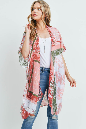 Ms0175cl - Clay Paisley Multi Print Patch Kimono