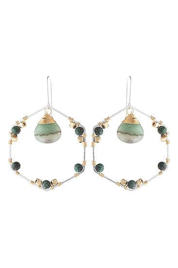 Hde3101 - Natural Stone Beaded Hexagon Drop Earrings
