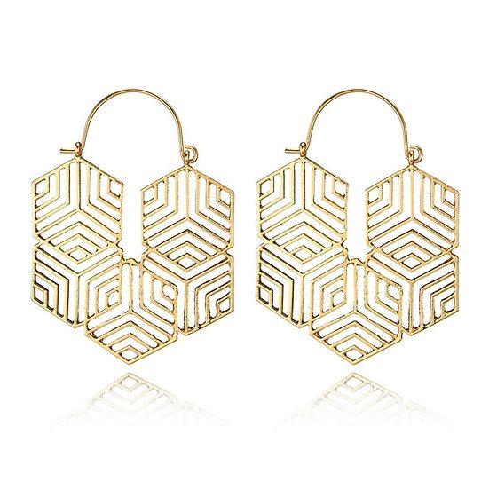 Hex -Gold Earrings