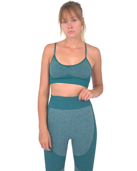 Megara Seamless Sports Bra With Striped Band - Green