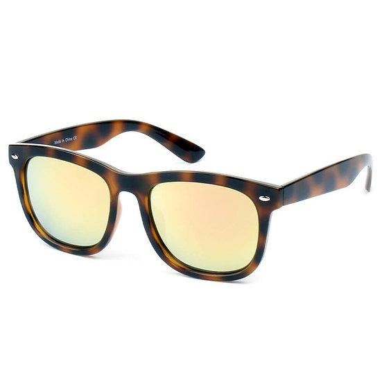 GIRONA   E06 - Classic Horned Rim Mirrored Lens Sunglasses