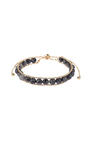 Hdb3069 - Natural Stone Beads Pull-Through Bracelet