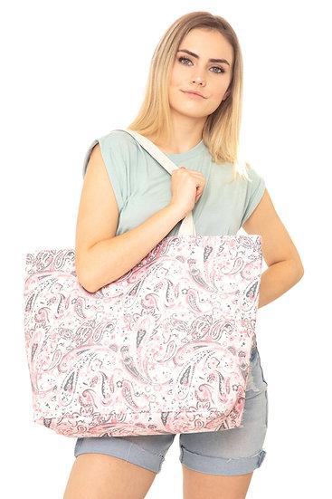 Mb0125pk - Pink Paisley Tote Bag