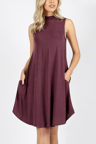 Premium Mock Neck Sleeveless Dress Pockets