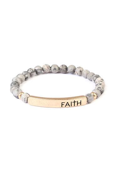 """Faith"" Natural Stone Stretch Bracelet"