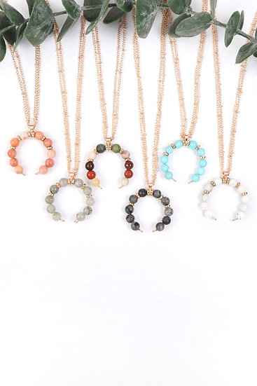 Hdn3105 - Beaded Crescent Pendant Necklace