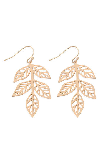 Me10263 - Laser Cut Leaf Earrings
