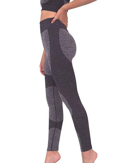 Megara Seamless Legging With Striped Panels - Black