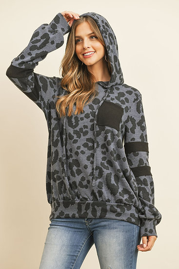 Brushed Pocket and Sleeved Detail Leopard Print Hoodie