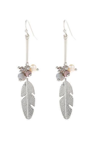 Hde3111 - Cast Feather Charm Drop Earrings