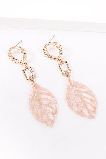 Mye1369 - Cast Leaf Link Drop Earrings
