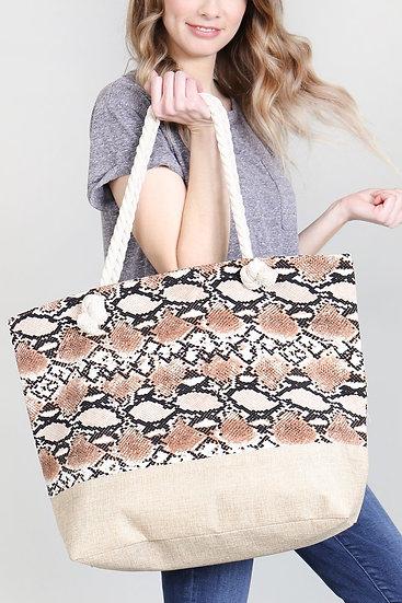 Snake Skin Printed Tote Bag