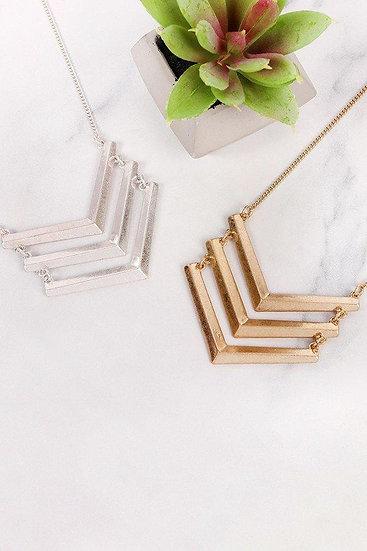 Pna146 - Three Line Chained Chevron Necklace