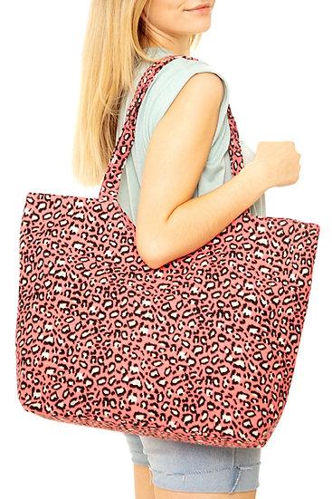 Mb0097co - Coral Leopard Print Tote Bag