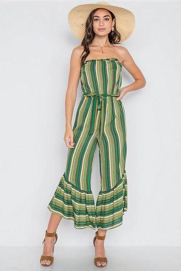 Stripe Jumpsuit -Green