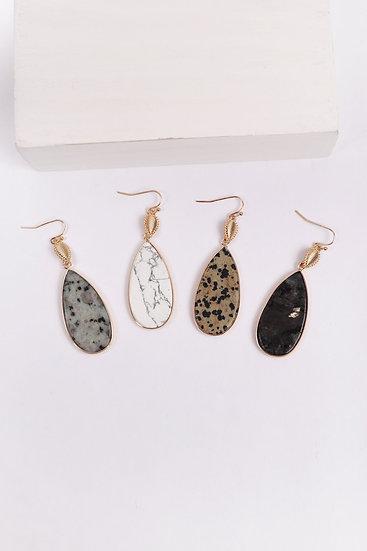 Mye1409 - Teardrop Natural Stone Drop Earrings