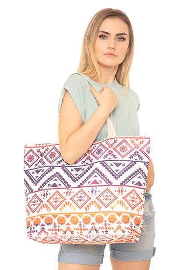 Mb0122nv-Rd - Navy Red Colorful Tribal Tote Bag