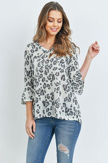Bell Sleeved Leopard Print Semi-Sheer V-Neck Top