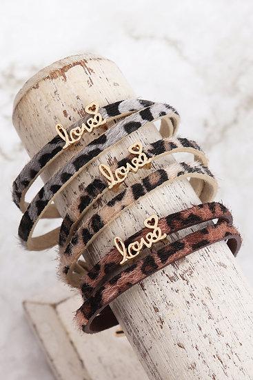 """Cba091lo - """"Love"""" Animal Skin Wrap Bracelet"""