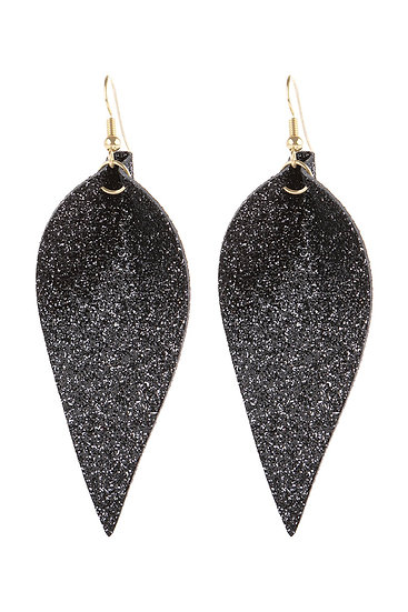 Hde3058 - Pinched Glittery Leather Drop Earring
