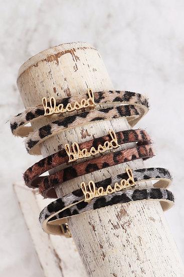 "Cba091bl - ""Blessed"" Animal Skin Wrap Bracelet"