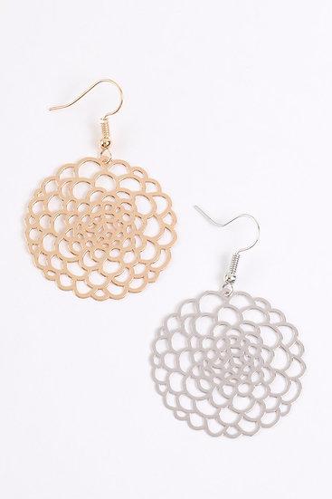 Hde3086 - Blossom Flower Filigree Disc Drop Earrings