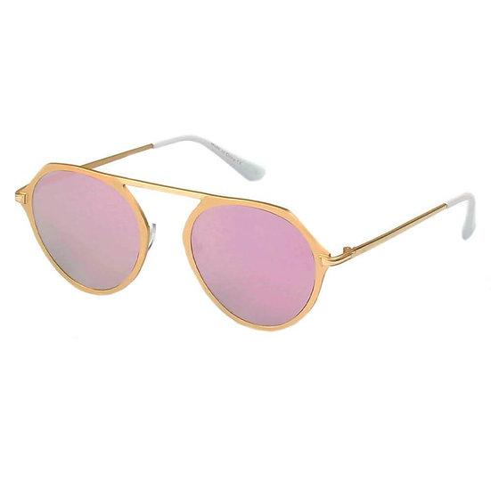 DRESDEN | A19 - Modern Flat Top Slender Round Sunglasses