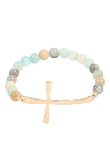 Myb1314 - Cross Charm Natural Stone Beads Bracelet