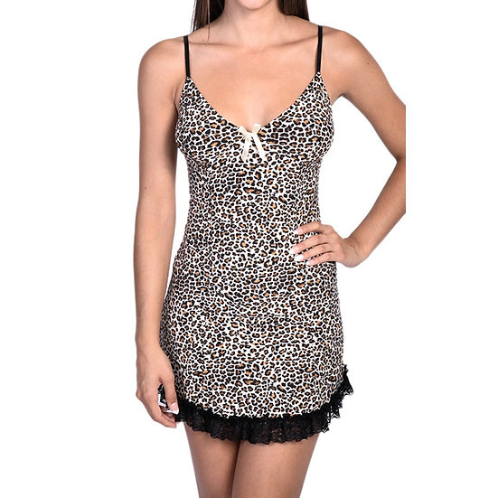 Cheetah Skin Print Slip With Contrast Lace Hem