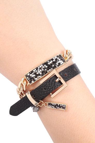 Myb1239 - Rhinestone Charm Chain Leather Bracelet or Choker