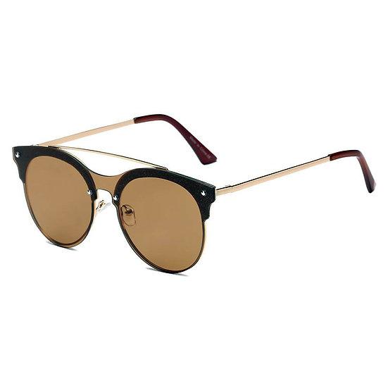 ENDICOTT   S3011 - Round Circle Brow-Bar Tinted Lens Sunglasses