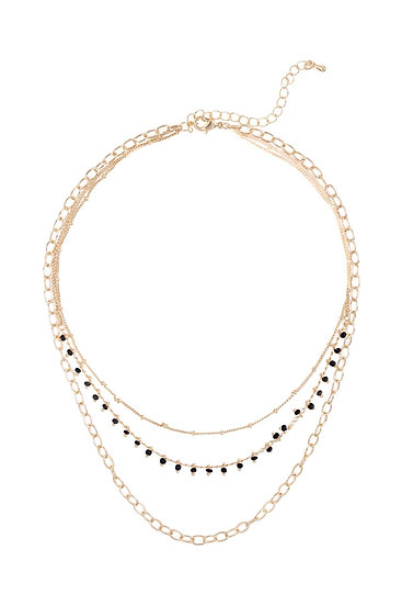 Ena008 - Three Layered Chain Dainty Beads Necklace