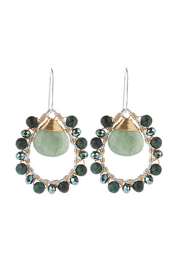 Hde3097 - Stone Wired Beaded Teardrop Earrings