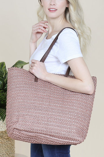 Pb0033-Offpk - Off Pink Straw Tote Bag