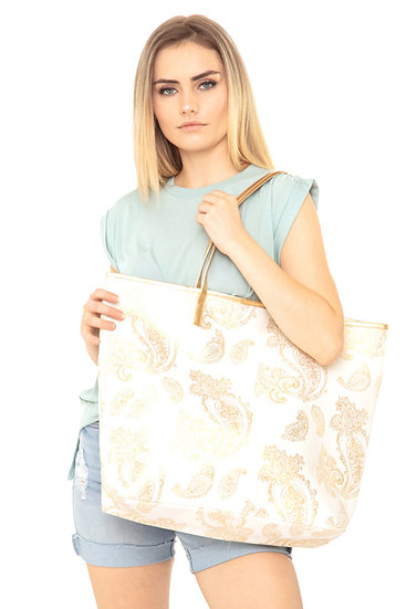 Mb0126wh - White Gold Foil Paisley Tote Bag