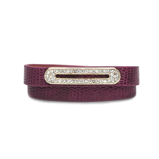 Luxe Leather Bracelet- Berry