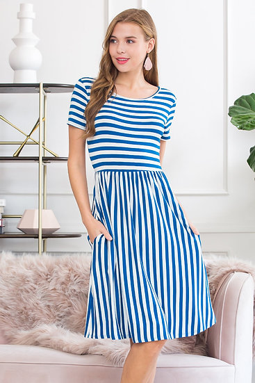 Short Sleeved Empire Waist Striped Pocket Dress