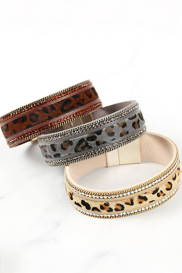 Leopard Leather Rhinestone Magnetic Lock Bracelet