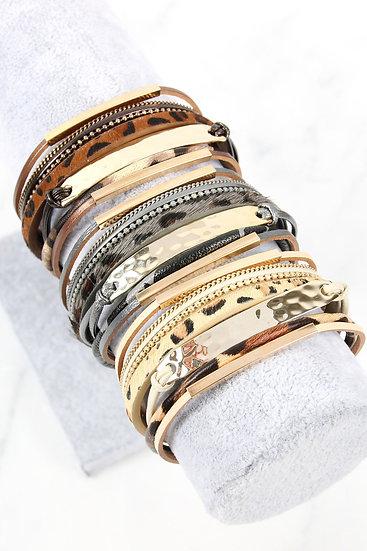 Leopard Leather Bar Wrap Bracelet
