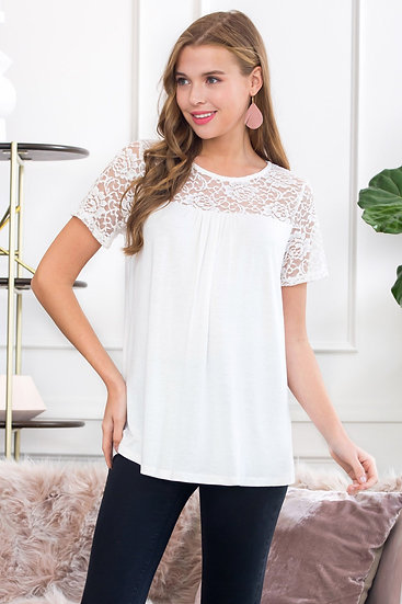Short Sleeved Lace Detail Top