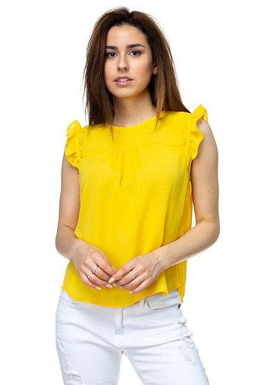 Ruffle Sleeve Top -Yellow