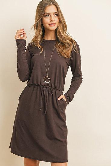 Cinch Waist Ribbon Detail Long Sleeves Solid Dress