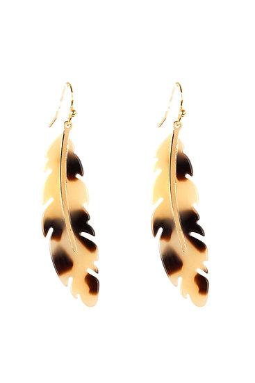 Fe5315 - Acetate Metal Feather Fish Hook Earrings