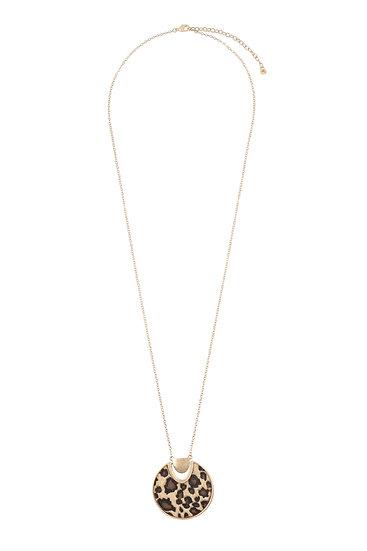 Jna807 - Animal Fabric Round Pendant Necklace