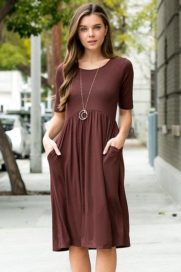 Short Sleeved Empire Waist Pocket Dress