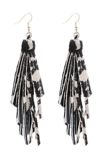 Hde3051 - Leopard Print Leather Tassel Earrings