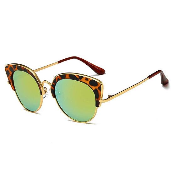 CATOOSA   CD08 - Women Half Frame Round Cat Eye Sunglasses Circle