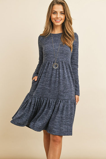 Two Tone Brushed Hacci Tiered Pocket Dress