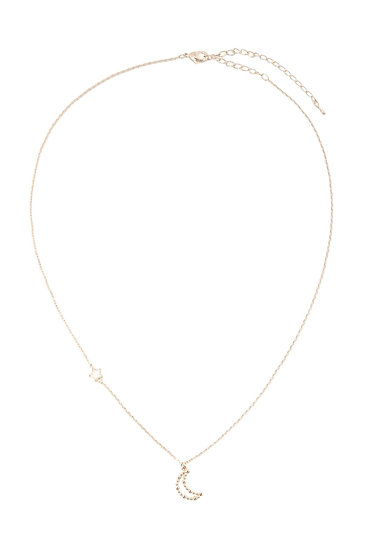 Inb092 - Open Crescent Moon Necklace